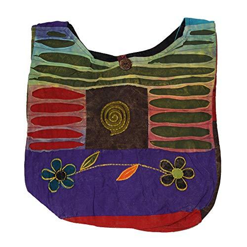 Patchwork Tasche Umhängetasche Handtasche Beuteltasche Tragetasche Schultertasche Shopper Bestickt Farbe Kringel