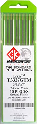 """wholesale CK outlet online sale T3327GTM LaYZr Tungsten Electrode 3/32"""" x 7"""", 10 high quality pack online sale"""