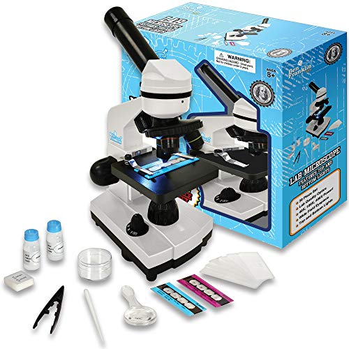 Ben Franklin Toys 39 Piece Microscope Kit for Kids with Top and Bottom Lights, Specimen Slides, 40X, 100X, and 400X Adjustable Lenses - for Kids and Schools (Ages 8+), White
