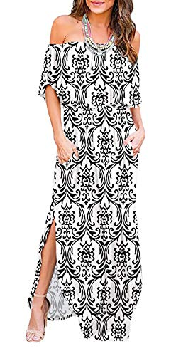 LILBETTER Womens Off The Shoulder Ruffle Party Dresses Side Split Beach Maxi Dress (White Wen,Medium)