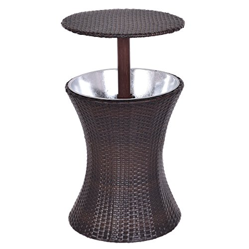 Adumly Patio Rattan Ice Cooler Cool Bar Table Party Deck Pool