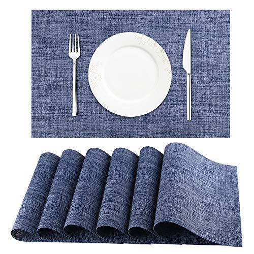 DACHUI Placemats, Crossweave Woven Vinyl Non-Slip Insulation Placemat Washable Table Mats Set of 6 (Blue)