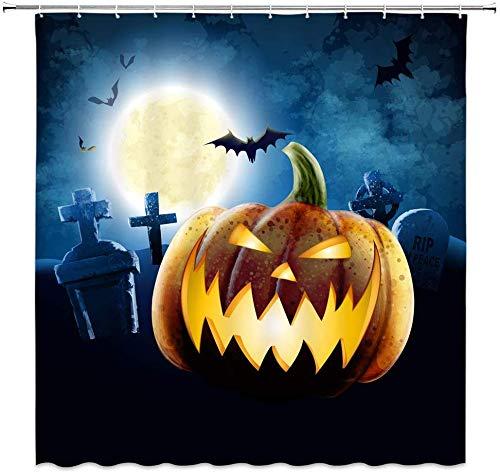MMPTn Kürbis-Duschvorhang, Halloween, Friedhof, Vollmond, Horror-Nacht, Festival, Schwarz-Gelb, Badezimmer-Dekoration, wasserdicht, 180,9 x 180,3 cm, mit 12 Kunststoffhaken