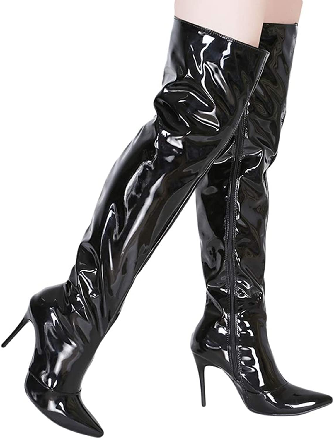 Women Over The Knee Sexy Silver Mirror Thigh High Boots Pointed Toe Party shoes Thin High Heels Long Boots