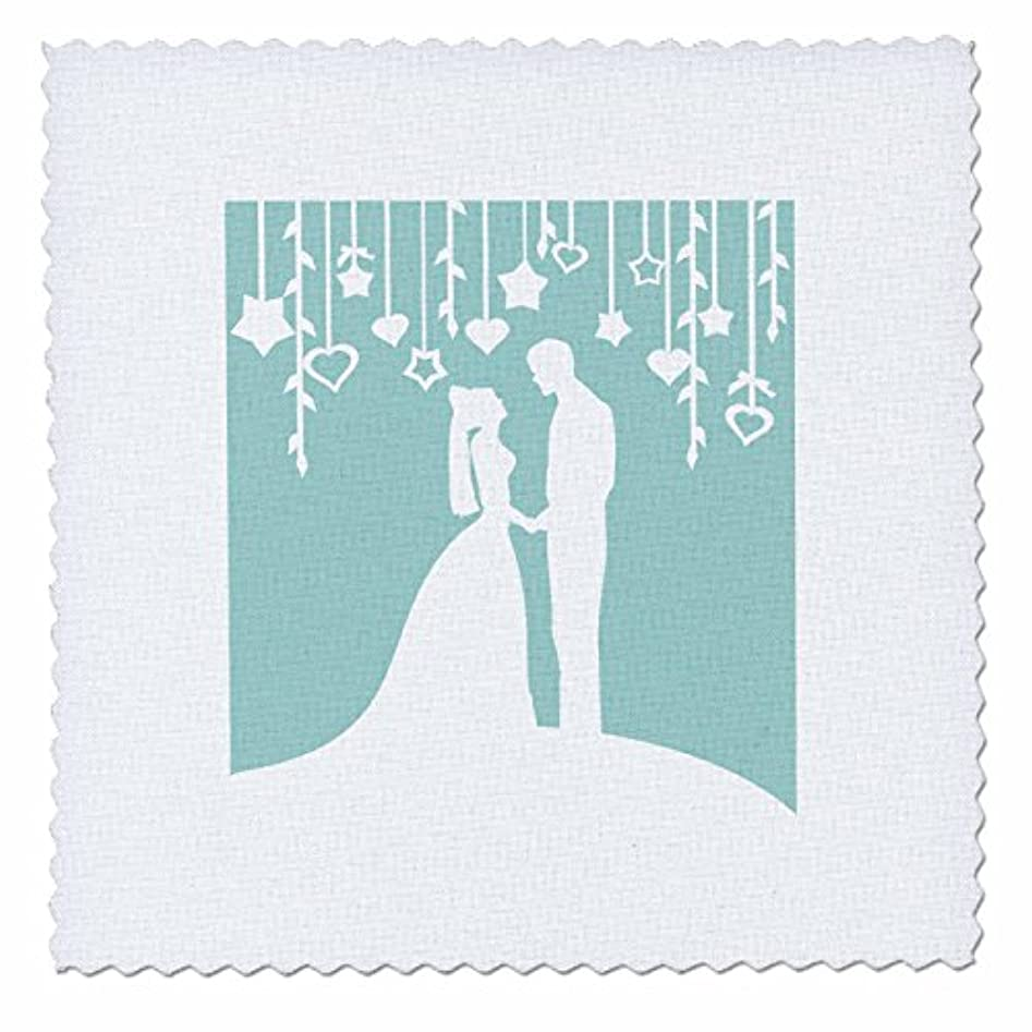 3dRose qs_120282_5 Classy Bride and Groom White Silhouettes on Mint Pastel Blue, Romantic Wedding Marriage Married Quilt Square, 14 by 14-Inch