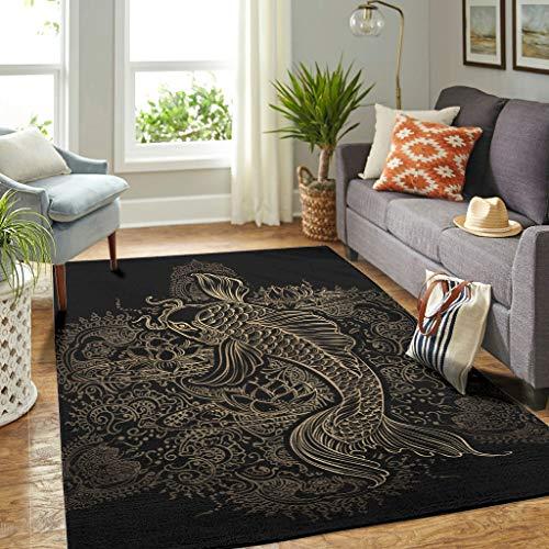 Veryday Koi Fish Mandala Lotus Alfombra de lujo para salón, como felpudo para puerta, dormitorio, pasillo, blanco, 122 x 183 cm