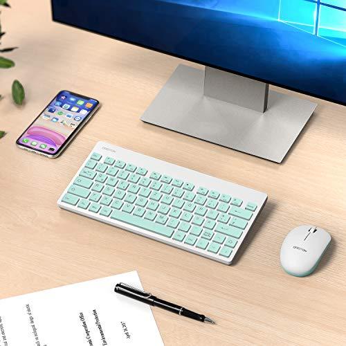 OMOTON Tastatur Maus Set Kabellos, Deutsches Layout mit faltbaren Ständern, 2.4Ghz Wireless Tastatur und Maus Set mit USB-Empfänger für Windows XP / 7/8/10 / Vista, Grün…