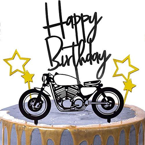 Ouceanwin 4 Pcs Tortendeko Schwarz Gold Cake Topper Motorrad Acryl Happy Birthday Kuchen Topper Glitter Stern Geburtstagstorte Dekoration, Kuchendeko Geburtstag Torte Topper Picks für Mann Junge