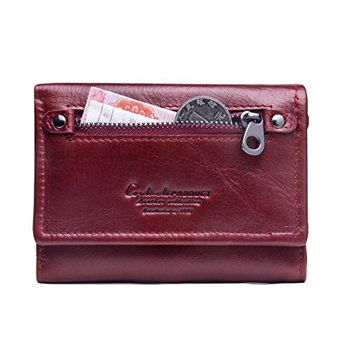 Contacts Echtes Leder-Frauen-Karten-Münzen-Halter-Kupplungs-Geldbeutel-Reißverschluss-langes Mappen Rot