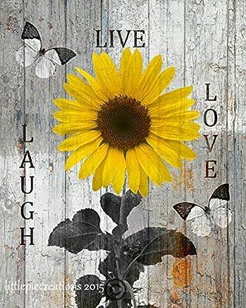 "Littlepiecreations Original USA Handmade Artwork Live Laugh Love, Sunflower, Rustic Modern Yellow Brown Wall Art 8'x10"" with 11""x14"" White Mat (Fits 11x14"" Picture Frame)"