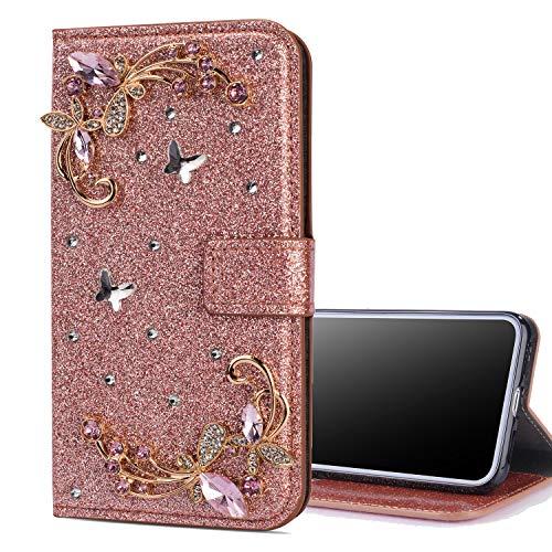 Nadoli Flip Custodia pour Galaxy A9 2018,Lusso Diamante Bling Pelle Portafoglio Chiusura Magnetica Slot per Schede Farfalla Fiore Flip Caso per Samsung Galaxy A9 2018,Rosa Oro