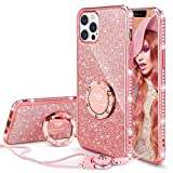 OCYCLONE Funda para iPhone 12/12 Pro, Glitter Cristal Diamante Brillante y Soporte de Anillo para Niñas y Mujeres, Funda para Teléfono con Purpurina para iPhone 12 Pro de 6.1 Pulgadas - Oro Rosa