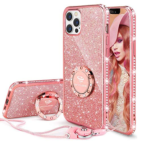OCYCLONE Funda para iPhone 12 Pro MAX, Glitter Cristal Diamante Brillante y Soporte de Anillo para Niñas y Mujeres, Funda para Teléfono con Purpurina para iPhone 12 Pro MAX de 6.7 Pulgadas - Oro Rosa