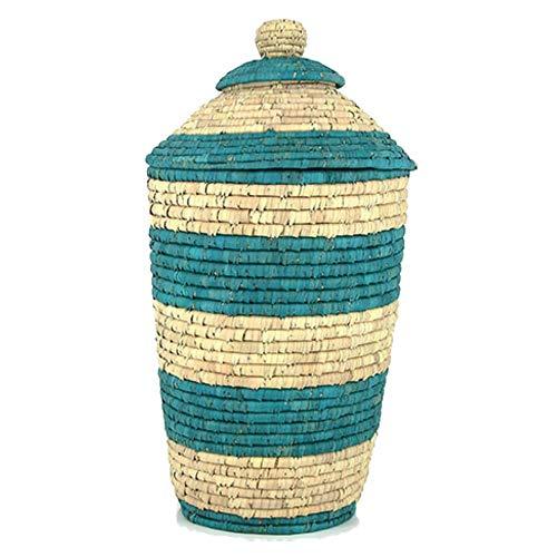 Gruener handel wasmand palmblad met deksel Ø 40cm - natuur - handwerk - Fair Trade