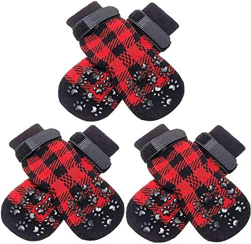 SCENEREAL Dog Socks Anti Slip with Straps Traction Control 3 Pairs Set Plaid Paw Protector for product image