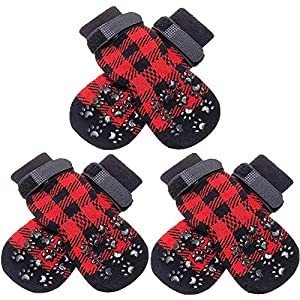 SCENEREAL Dog Socks Anti Slip with Straps Traction Control 3 Pairs Set – Plaid Paw Protector for Floor Indoor, Non-Skid Design for Small Medium Dogs Cats Puppy