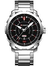 腕時計 メンズ ビジネス 曜日 日付 時計 就活 ステンレス curren watch 8266