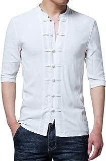 Stoota Men's Summer Vintage Henley Shirt,Fashion O-Neck Button Half Sleeve Top