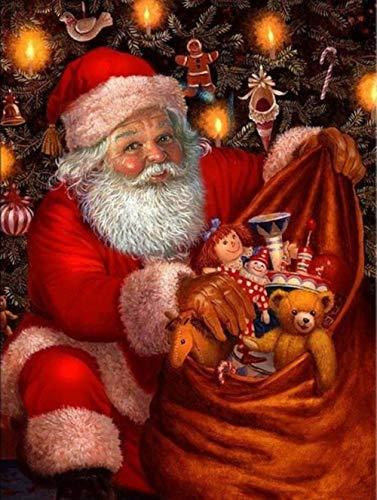 Dybjq 5D cuadro de diamantes completo bordado punto de cruz de Papá Noel s regalo de Navidad mosaico de diamante hecho a mano decoración de arte 40 x 50 cm
