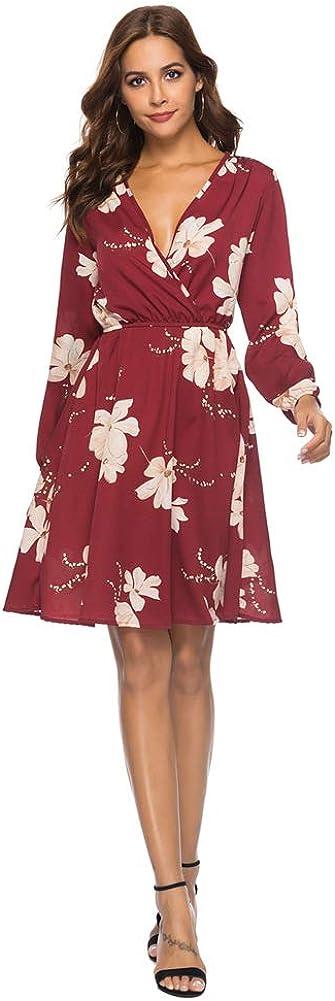 Chowsir Women Sexy Wrap V-Neck Long Sleeve Floral Beach Chiffon Midi Dress
