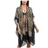Copricostumi e Parei Donna Chiffon Costume da Bagno Cover up Scialle Sciolto Leopardo Colore sfumato ½ Manica Copricostumi da Mare Donna Lunghi Cardigan da Spiaggia - 2020