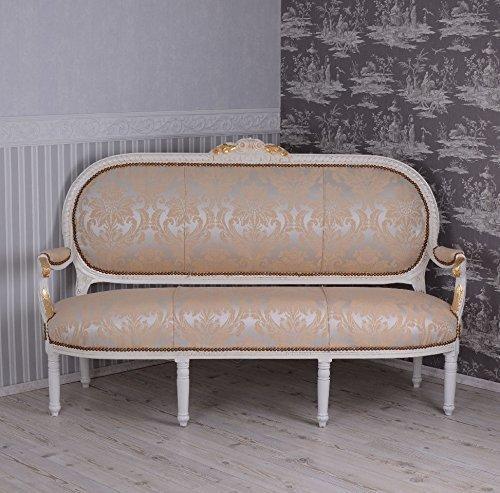 Gigantisches Rokoko Sofa, Diwan, Kanapee, Ottomane, Liege - Madame Pompadour - mit königlichem Ambiente im Rokoko-Stil in Beige - Palazzo Exclusive