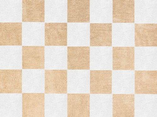 Aratextil. Alfombra Infantil 100% Algodón lavable en lavadora Colección Damero Beige 120x160 cms