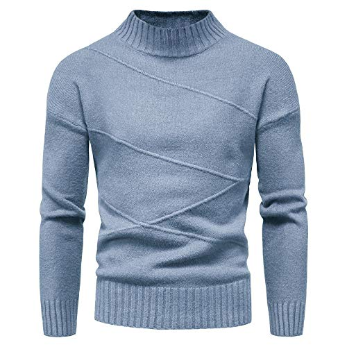 Men's Sweater Men's Striped Knit Jacket Men's Cardigan Half high Neck Bottoming Shirt Lake Blue
