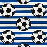 Baumwollstoff Fußball blau/weiß Kinderstoff - Preis gilt