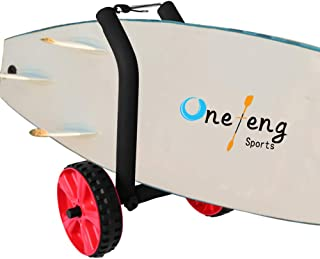 Onefeng Sports Adjustable Stand Up Paddle Board SUP Surfboard Carrier Cart Trolley Lightweight Dolley with Easy to Use Beach Wheels
