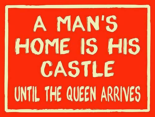 A Man'S Home, Retro Replica Style Metal Tin Sign 8x12 Inch Garage Decor,Gift Pub Shed Man Cave