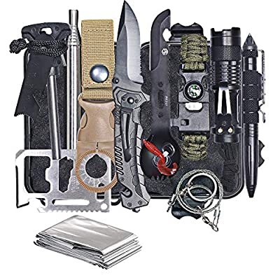 HMMS Emergency Survival Kit 13 in 1, Mini Survival Equipment Kit Outdoor Survival Tools | Outdoor Hiking Fishing Hunting Backpack | For Adventure Outdoor Camping Sports Travel Hiking from HMMS