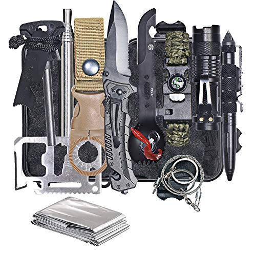 HMMS Emergency Survival Kit 13 in 1, Mini Survival Equipment Kit Outdoor Survival Tools   Outdoor Hiking Fishing Hunting Backpack   For Adventure Outdoor Camping Sports Travel Hiking