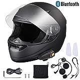 AHR Bluetooth Motorcycle Full Face Helmet Wireless Headset Helmet with Wireless Headset Intercom MP3 FM Radio DOT