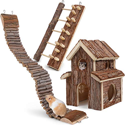 Itslife 3 piezas Hamster Casa Escaleras de Escalada Natural Puente Escalada Escalada Madera Juguetes Escalada Pequeña Mascota Escalada Escaleras de Colgar Escaleras