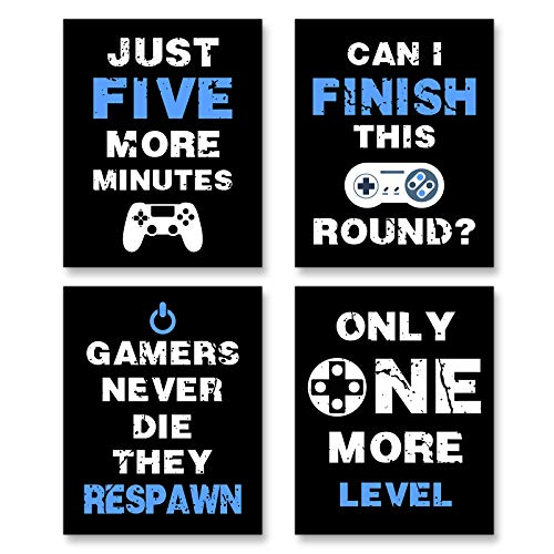 """Funny Game Posters Art Print Inspirational Words Quote Saying, Posters for Boys Bedroom Decorations Unframed Set of 4 (8""""X10"""")"""