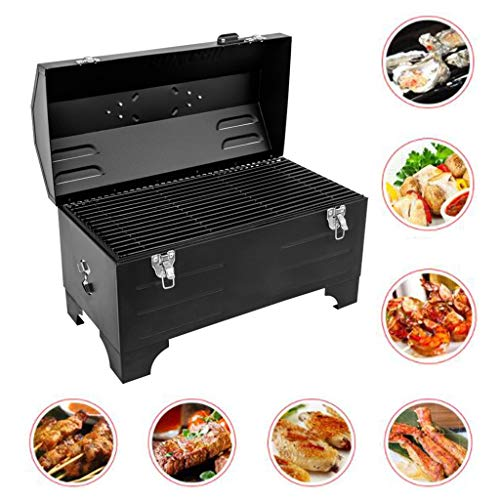 Barbecue Portable Charcoal Grill Car Outdoor Grill Picknick Buiten BBQ Extra Small BBQ Weekend Travel Artifact (Color : Black, Size : 49.5 * 31.5 * 24.5cm)
