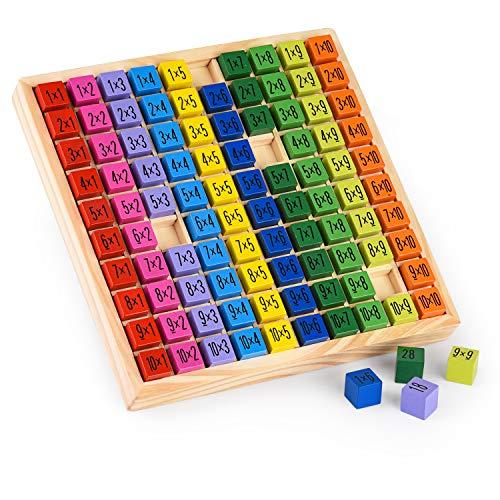 Colmanda Mathematik Spiele, Bunte Würfel mit Aufgaben Mathematik Bildungs-Holz-Spielzeug, Holzrechenbrett 1x1 Multiplikation Tabelle Kinder Baby Blocks für Kinder (A)