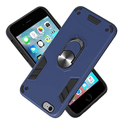 FAWUMAN Hülle für iPhone 6s Plus/iPhone 6 Plus mit Standfunktion, PC + TPU Rüstung Defender Ganzkörperschutz Hard Bumper Silikon Handyhülle stossfest Schutzhülle Case (Königsblau)