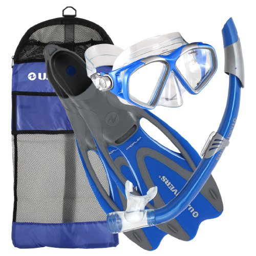 U.S. Divers Cozumel Snorkeling Set. Adult Snorkel Mask, Snorkel, Fins, and Travel Bag, Medium/Large 8 - 9.5, Electric Blue