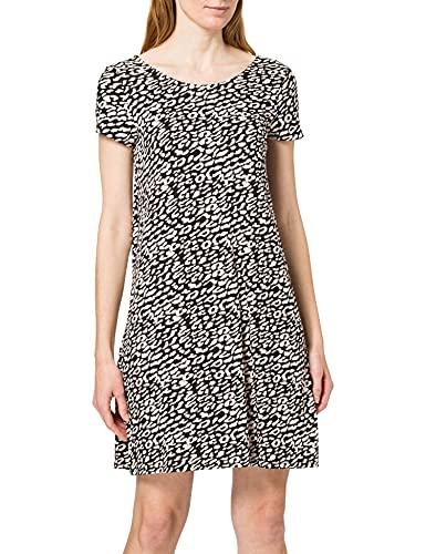 Only Onlbera Back Lace Up S/S Dress Jrs Noos Vestido, Negro/AOP: Eggnog/Black Leo, L para Mujer