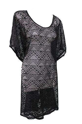 Tchibo TCM Tunika in Häkeloptik Strandkleid Strandbekleidung Sarong Kleid L schwarz