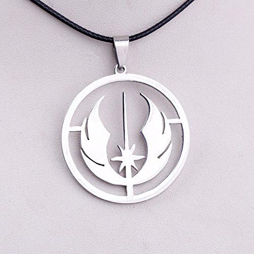 Cadena de cordón colgante redonda de acero inoxidable con símbolo de orden Jedi de Star Wars