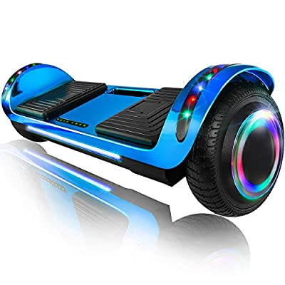 "XPRIT 6.5"" Hoverboard Self-Balance Two Wheel w/Built-in Wireless Speaker (Chrome Blue, 6.5'' Wheel)"