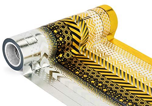 Decorativo Craft Washi–Cinta de carrocero (Juego de 12rollos), color dorado, color negro y plateado–Cinta de papel japonés de United cintas