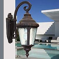素朴なさび色屋外ウォールライトランタンアルミニウム下向き1電球E27ヨーロピアンスタイルレトロ四隅シングルヘッドガラスシェードウォールライトウォール燭台