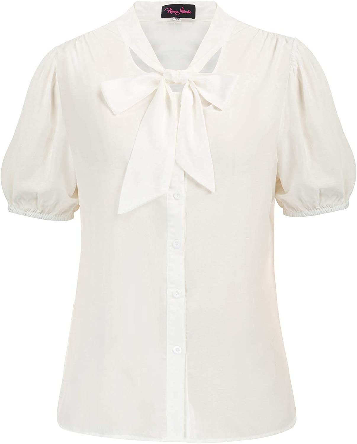 Womens Bow Tie Neck Short Sleeve Shirts Plus Size Casual Office Work Blouse Tops