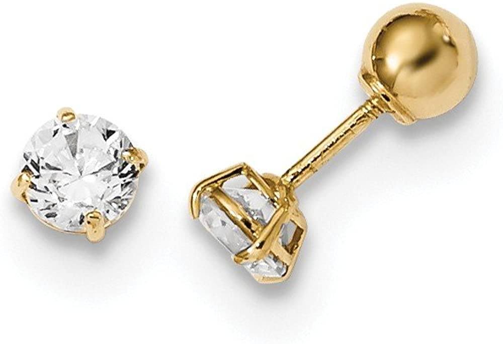 14K Yellow Gold Madi K Polished Reversible Ball and CZ Earrings