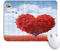 KAPANOUマウスパッド バレンタインのロマンチックな愛の心の木と風船 ゲーミング オフィス おしゃれ 防水 耐久性が良い 滑り止めゴム底 ゲーミングなど適用 マウス 用ノートブックコンピュータマウスマット