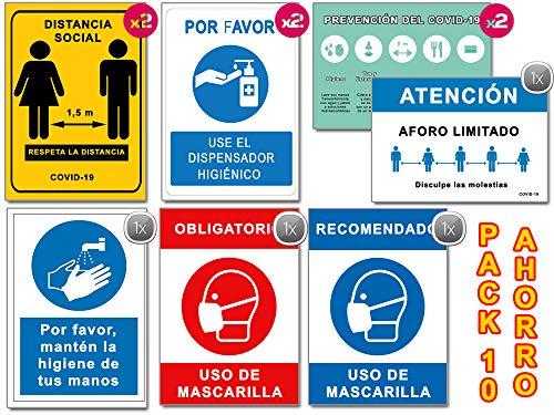Segnali COVID 19 pz Confezione risparmio 10 cartelli Coronavirus 2 distanza, 2 maschere, 2 dispenser, 2 guide, 1 igiene mani, 1 foro, segnalazione autoinstallabile, 21 x 30 cm